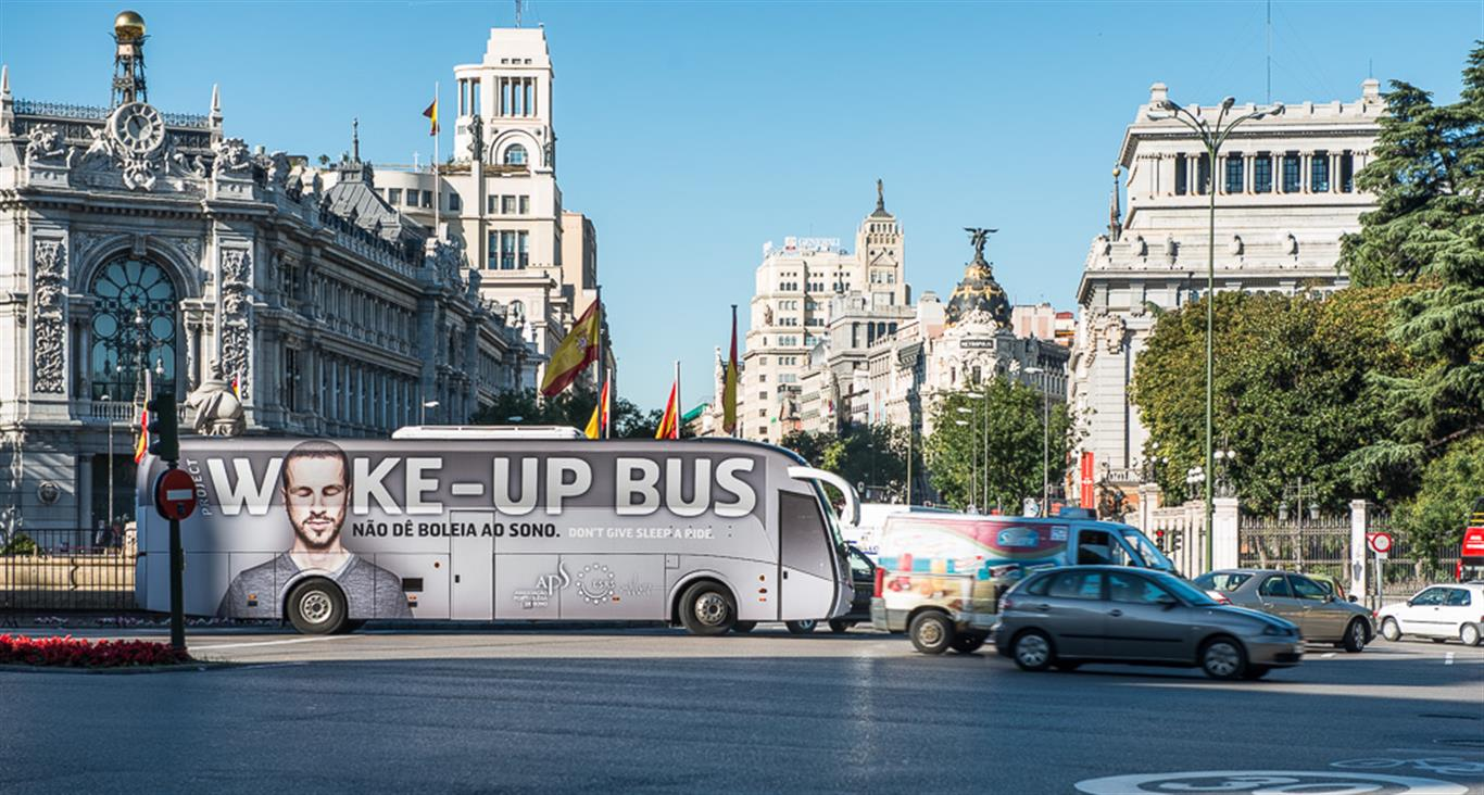 ESRS Wake-Up Bus tours the city of Madrid, Spain